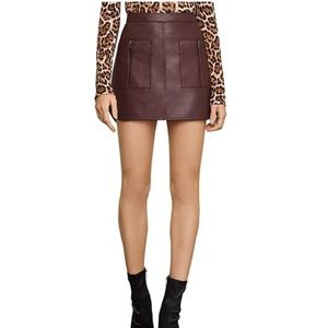 BCBG Patch Pocket Faux Leather Skirt